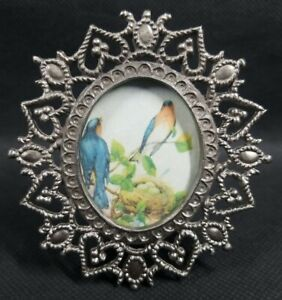 Vintage Small Ornate Metal Picture Frame Photo Holder Flowers Hearts Scrollwork