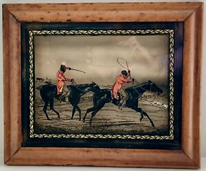 Antique English 19th C Reverse Glass Painting Fox Hunt Horses Dogs Framed