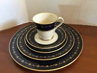 "Gorham (1831) ""BARONIAL""  Fine Bone China 5-Place Setting (Cobalt/Gold)  New"