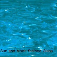 8 X10 Spectrum Stained Glass Sheet S833-93: Deep Aqua/ White, wispy