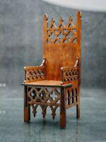 "Gothic Throne Chair for Tonner BJD Dolls 16-18"" 1/4 wood furniture OOAK V32"