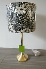 KATE SPADE NEW YORK LAMP GOLD FLORAL CREAM BLACK SHADE TABLE BEDROOM LIVING ROOM