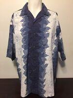 High Sierra Blue White Hawaiian Shirt XL Floral Hibiscus Flowers Aloha Tiki