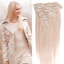 8 Tressen Glatt Clip In 100% Remy Echthaar Extensions Haarverlängerung Hair 50cm