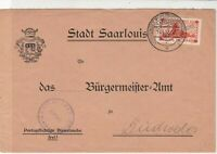 Germany SAAR 1932 Coat of Arms Saarlouis cancel Stamps Cover rf22902