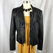 NWT Blank NYC Vegan Faux Leather Fitted Moto Blogger Jacket Black LARGE