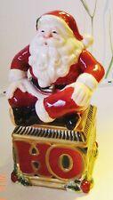 Holiday Christmas Fitz Floyd Salt Pepper Ho Ho Santa Red Green 2003 New Stacking