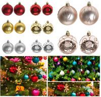Set Of 24 x 60mm Luxury Glitter Matt Baubles Christmas Xmas Tree Decorations