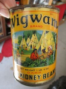 ANTIQUE RARE WIGWAM RED KIDNEY BEANS FOOD TIN CAN MENOMINEE MICHIGAN