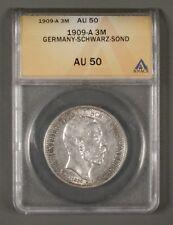 1909-A German States Schwarzburg-Sondershausen 3 Marks KM# 154 ANACS AU50