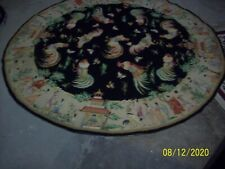 New, Round Victoriana Needlepoint Roosters and other motives Rug, 6'x6'