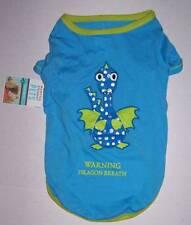"""NWT Martha Stewart Pets Blue Dog shirt """"Warning Dragon Breath"""" Size Medium"""