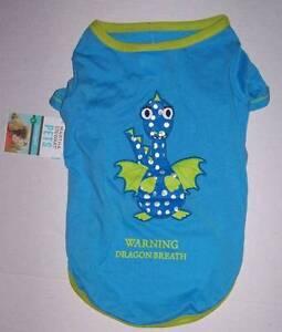 """NWT Martha Stewart Pets Blue Dog shirt """"Warning Dragon Breath"""" Size XS"""
