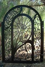 Metal Art Gate Custom Pedestrian Rose Swan Walk Iron Steel Fabricated in USA