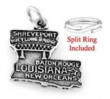 STERLING SILVER STATE OF LOUISIANA CHARM W/SPLIT RING