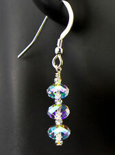 Triple Stack Crystal AB Earrings created with Swarovski Crystals Sterling Silver