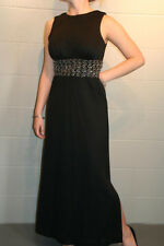 S~M VTG 70s MAXI Party DRESS BLACK KNIT SILVER BRAID SEQUINS WAISTBAND SIDE SLIT