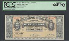Mexico 10 Pesos June 1915 Ps535a Uncirculated Graded 66