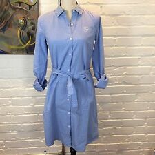 Tommy Hilfiger Womens Classic Long Sleeve Tab Shirt Blue Dots Belt Dress Size XS