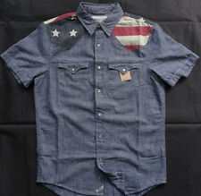 "Denim & Supply Ralph Lauren Kurzarm ""FLAG"" DENIM Hemd Gr L"