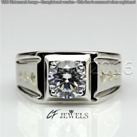 Genuine 1.80CT Off White Yellow Moissanite Ring Wedding Ring 925 Silver Ring A07