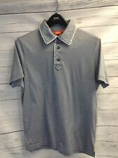 HUGO BOSS ORANGE Medium 3 Btn Blue FineStriped Polo Shirt,100% Cotton,Distressed
