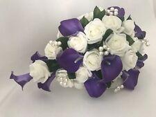 Wedding bouquets Flowers Purple Rose Lillies Bride Bridesmaid buttonholes wands