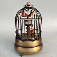 Mechanical clock horologe- Exquisite Brass birdcage shape three bird ZB005
