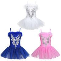 Mädchen Ballettkleid Tanz Trikot Ballett Kleider Set 104 110 116 122 128 140 152
