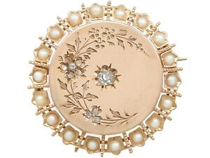 Antique French Seed Pearl and Diamond 18k Yellow Gold Brooch