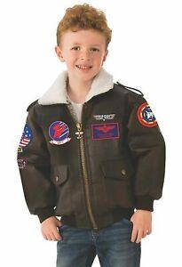 Top Gun Bomber Jacket Brown Pilot Halloween Child Costume Accessory Size Medium