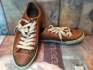 CONVERSE All Stars Chuck Taylors Low Tops Caramel Brown Leather Shoes Men Sz 8.5