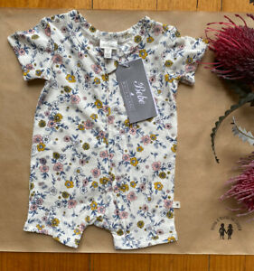 Bebe by Minihaha baby girl size newborn white pink floral Summer romper, BNWT