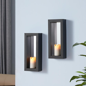 Candle Sconces w Mirror Pillar Wall Iron Metal Frame Decorative Black Set of 2