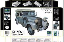Sd. Kfz. 1 Type 170 Vk, German Military Staff Car, Ww Ii 1/35 Master Box 3530