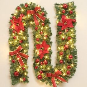 9 foot Christmas Wreath Garland Door Ornament Xmas Fireplace DIY Decor Tree
