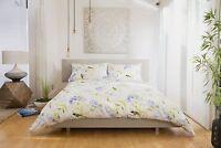 Floral Design Duvet Cover Set Superking Bed Size in Blues Polycotton