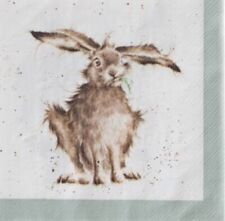 paper napkins decoupage x 2 wrendale hares 25cm