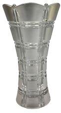 24cm Tall Wide Mouth Silver Glass Flower Vase Flared Design Vase