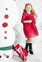 CHASING FIREFLIES Girls Christmas Party Holiday Dress Size 7 8 NWOT