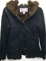 Forever 21 Womens Faux Fur Lined Hooded NAVY Button JACKET Distressed Medium