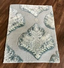 Anthropologie Rug turquoise aqua Tufted Foliage Textured 2 x 3 MSRP $298 New
