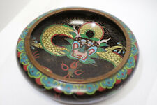 Antique c.1900 Chinese Enamel Cloisonne Metal BOWL with Dragon Design - 232