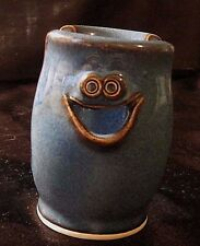 """ART POTTERY STORAGE """"THING-A-MA-JIG"""" - Teal Blue w/An Adorable Smiling Face"""