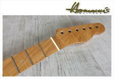 Telecaster one piece Roasted Curly Maple Neck mit Abalon Dots, best Quality  /17