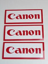 3x Job Lot of Vintage Canon Camera Vinyl 115mmx50mm Dealer Stickers
