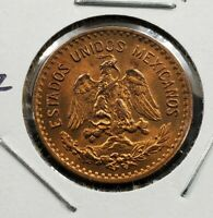 1943 Mexico 1c One Centavo Centavos Coin BU Uncirculated Brown / Red Brown Nice2