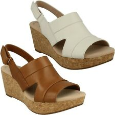 LADIES CLARKS ANNADEL IVORY LEATHER SUMMER CASUAL SLINGBACK WEDGE SANDALS SIZE