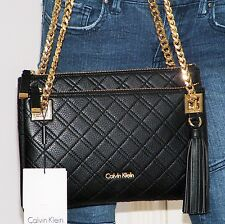 $228 NWT Calvin Klein Permanent Quilt Black Leather Chain Shoulder Bag Xbody