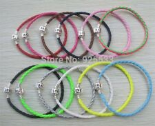 Silver Clasp Leather Woven Braided Love Bangle Bracelet DIY 4 European Charms